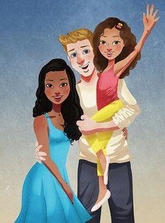 Isaiah Stephens - Interracial family artwork #wmbw #bwwm famili, artwork