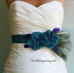 Wedding Sash Belt MALLORY - Two Teal Flowers
