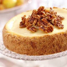 Praline Crusted Cheesecake: Guests at the Old Rittenhouse Inn in Bayfield, Wisconsin, indulge in this nut-topped dessert. Recipe: http://www.midwestliving.com/recipe/desserts/praline-crusted-cheesecake