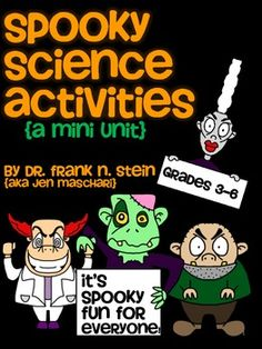 "Spooky Halloween Science Mini-Unit - This mini-unit includes 5 FUN and SPOOKY experiments/investigations that you can do with your class. Includes explicit teacher instructions, prep-work suggestions, the ""behind-the-scenes"" science and a 7-page student booklet. $"