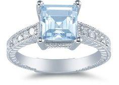 2 Carat 7mmx7mmPrincess Cut Aquamarine and Diamond Ring, set in 14K White Gold. Diamond Carat weight 0.18 Diamond Color: H  Diamond Clarity: SI1-SI2