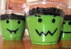 Frankenstein pudding cups for Halloween. Yum! Other great ideas for treats on this site too!