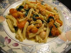 Pasta Langostino with Fresh Zima Tomatoes and Spinach in Olive Oil and White Wine Sauce