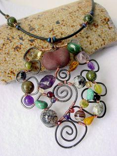 wire jewelry, wire wrap, bead, wire pendants, necklac, stone, cuff bracelets, wire jewellery making, wire sculptures