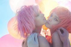 by Lara Jade <3 photography 101, pastel, hair colors, cotton candy, candi, lara jade, pink, fashion photography, balloon