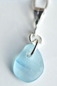 Sea glass pendant. Rare blue art glass from England.