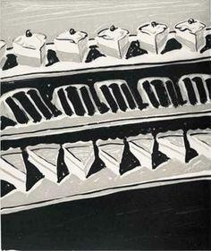 Title: Dark Cakes and Pies  Artist: Wayne Thiebaud (1920, American)  Year: 2006