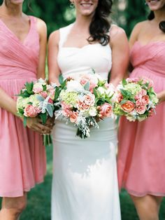 #Pink #Green #Bouquets |  #SMP Weddings: http://www.stylemepretty.com/2013/12/19/the-historic-balch-hotel-wedding/ Jon Duenas Photography