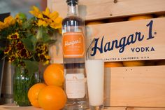 """""""Mandarin Fizz""""  2 oz Hangar 1 Mandarin Blossom Vodka ½ oz simple syrup ¼ oz lemon juice ½ oz lime juice 1 egg white ¾ oz cream 1 dash rose water Top with seltzer  Vigorously dry shake (shake with no ice) all ingredients except seltzer for 1 minute to aerate the drink. Then add ice and shake again for 30 seconds. Strain into a collins glass and top with seltzer."""