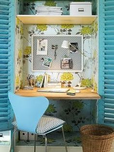 office in a cupboard...and pretty wall paper~