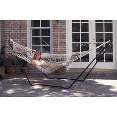 1 Person Backyard Patio Cotton Rope Hammock with Stand Combo