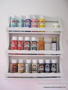 paint storage on an old spice rack #craft #hiddenstorage