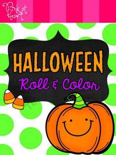 Halloween Roll and Color Pumpkins Worksheets FREEBIE from Pink at Heart on TeachersNotebook.com -  (4 pages)  - PDF - 2 Roll and Color Pumpkin Worksheets (1-6 and 7-12)