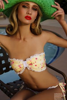 Yellow Floral Bandeau Swimsuit by Cynababy Swimwear