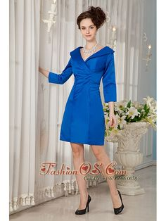 Modest Royal Blue Mother Of The Bride Dress Column V-neck Taffeta Ruch Knee-length    http://www.fashionos.com  http://www.facebook.com/fashionos.us   low price mother of the bride dress | websites for mother of the bride dress | stunning online mother of the bride dress | mother in bridesmaids | customer made mother of the bride dress | cheap gorgeous mother of the bride dress | wholesale perfect mother of the bride dress | knee length mother of the bride dress |