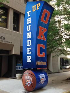 """Gumby,"" the big green exclamation point in Downtown OKC, is ready to Thunder Up! #WeAreThunder"