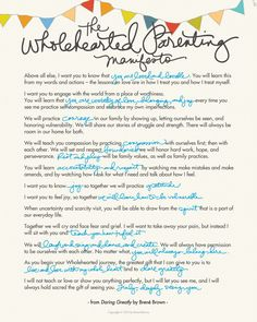 The Wholehearted Parenting Manifesto from Daring Greatly by Brene Brown