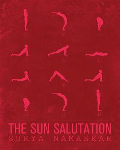 Sun Salutation A by sunnychampagne: Available in multiple color options. #Illustration #Yoga #Sun_Salutation