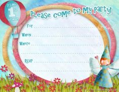 Free Printable 1st Birthday Invitations Fairy birthday