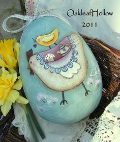 chicken, ostrich egg, paint