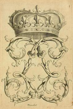 Vintage Ephemera - French crown and flourish, 1685