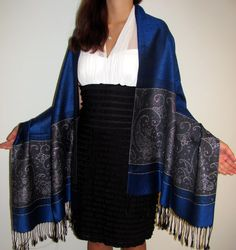 Evening pashminas are perfect in feel and designer elegance with the silk combination.