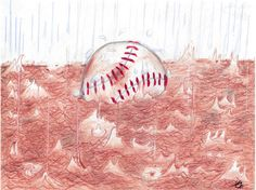 """The forecast of his son Teddy's future looms over Malone as the men sit waiting for the weather to clear and the ball game to begin.  """"Rain Delay"""" by S. Frederic Liss The Saturday Evening Post"""