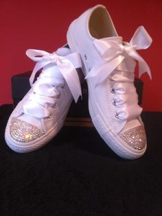 MAIRE: Bedazzled toes with ribbons :) oh my gosh!! Spiced up Converse for wedding shoes?!!! Maybe wedding thing isnt so bad!!! Lmao!! Jk!! ;)