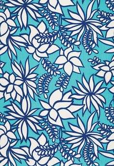 Kalaheo Print Aqua Fabric SKU - 174660 Indoor/outdoor