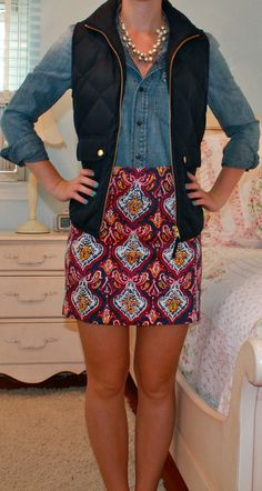 paisley mini skirt + chambray shirt + navy quilted vest
