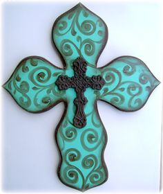 Hand painted Wooden Wall Cross by BellaLouart on Etsy, $86.00