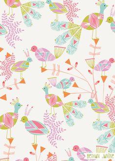 spring bird, pattern