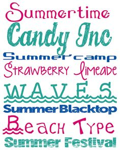 Summer+Fonts Free Summer Fonts  Candy Inc, Waves, Summer Festival