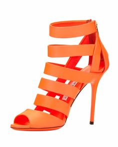Thursday, January 9th: Jimmy Choo Dame Caged Leather Bootie, Neon Flame, 212 872 8940