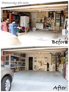 LOVE the shelf idea straight ahead....NEED this and have the space in our garage. Great for rain jackets and boots!