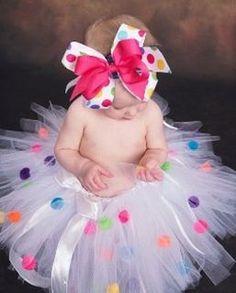 Too cute! little girls, pom poms, polka dots, tutu, birthday parties, baby girls, first birthdays, 1st birthdays, birthday outfits