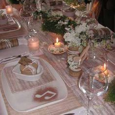 Elegant table setting, musical decorations, beemed notes
