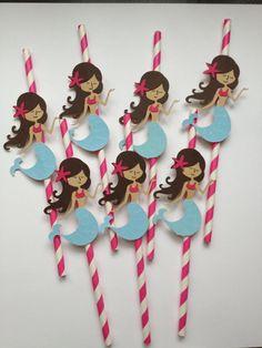 12 Mermaid Paper Party Straws by MiaSophias on Etsy, $16.99