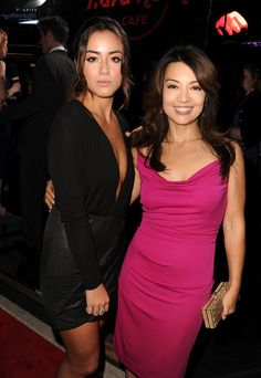 Chloe Bennett and Ming-Na Wen arrive at the premiere of Marvel's 'Thor: The Dark World' at the El Capitan Theatre on November 4, 2013 in Hollywood, California.