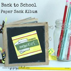 Back to School Paper Bag Album Craft by My Paper Pinwheel. #backtoschool LivingLocurto.com