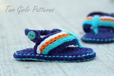 The #crochet pattern for these baby flip flops is sold on Etsy by TwoGirlsPatterns