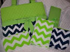 PERSONALIZED 5 Piece Lime & Navy Chevron Diaper Bag Set by grinsandgigglesbaby1, $59.00
