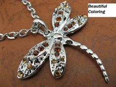 '2 Colors Crystal Dragonfly Necklace Tibetan Silver' is going up for auction at 11am Tue, Sep 10 with a starting bid of $3.