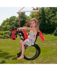 Ready for some retro family fun this summer? Hang a tire swing! This safe Pony Pal model, crafted from recycled materials, is made for your little cowgirl or cowboy. Click above to buy one.