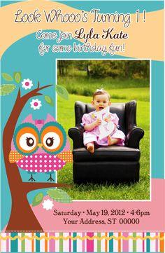 Custom One Photo Whimsy Owl Birthday Party Invitation