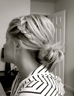 french braid side with ponytail. might be perfect for work.