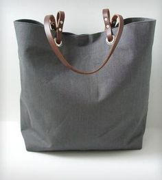 Linen and Leather Tote Bag - Gray
