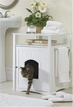 Merry Pet Cat Washroom / Night Stand Pet House by Merry, http://www.amazon.com/  I love this. Sells for around $95.00