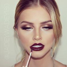 bronze eyes/wine lip