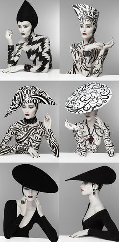 patterns & patterns costum, crazy hats, pattern, fashion models, serge lutens, white fashion, fashion art, black white, fashion photography